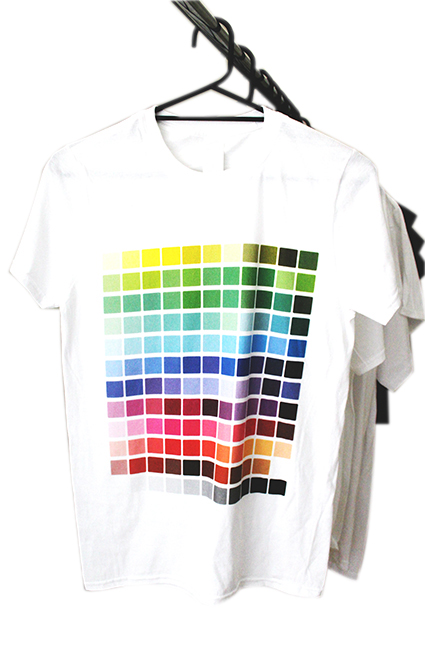 White T Shirt with colour swatch printed with Epson Direct to Garment printer at Wise Designs Dunsborough